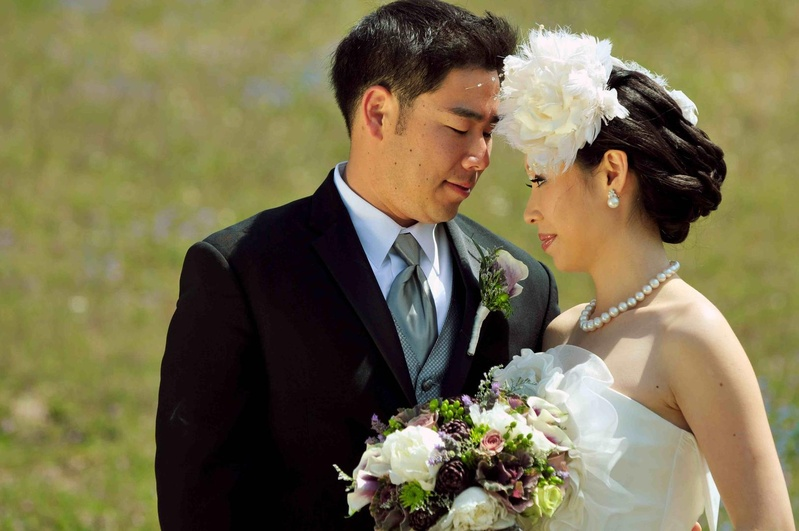 Bride and groom in Temecula at outdoor wedding