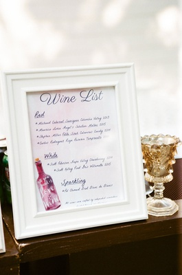 wedding reception cocktail hour wine list menu red white and sparkling with illustration wine bottle