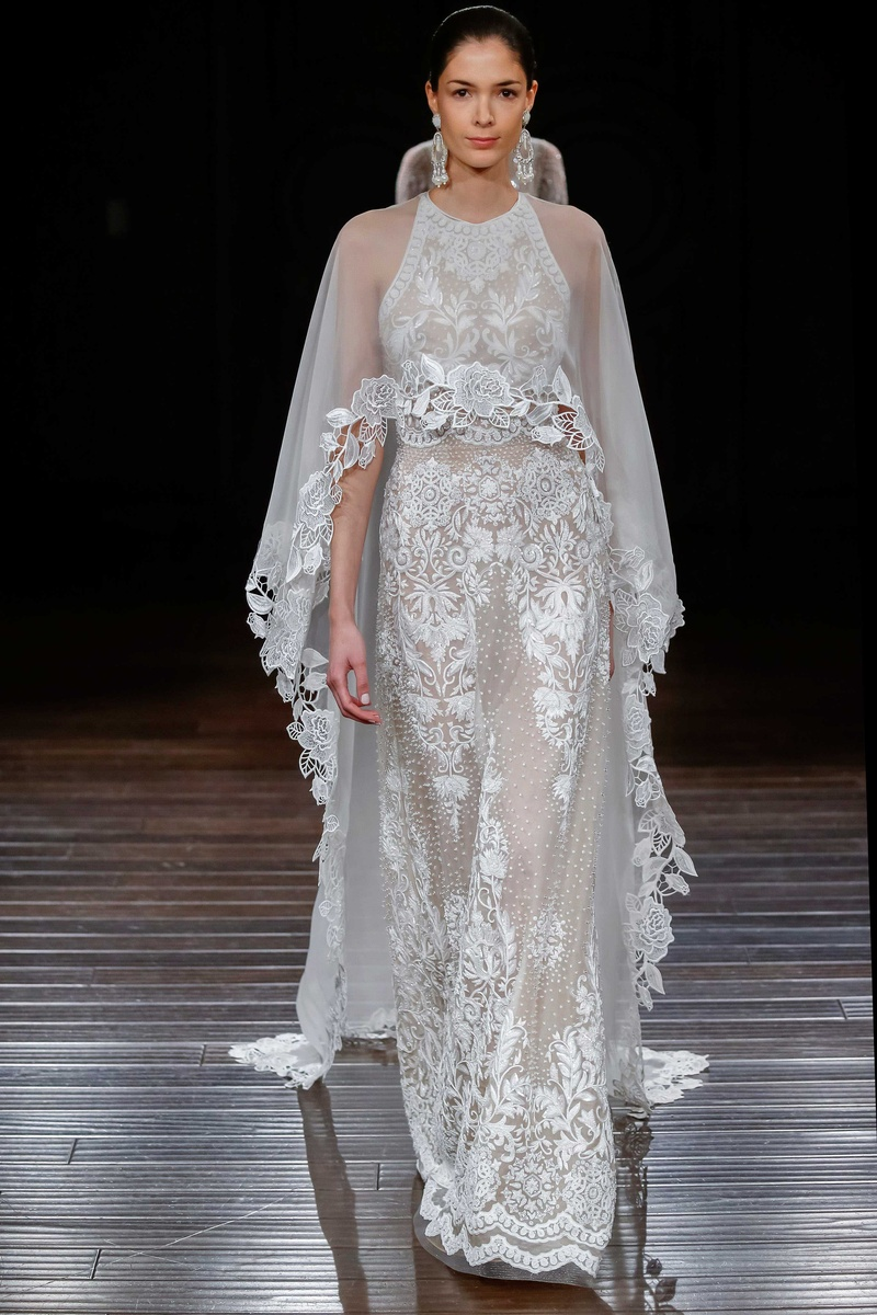 wedding dress with cape Naeem Khan Bridal spring Medina hand embroidery high neck sleeveless wedding dress with cape