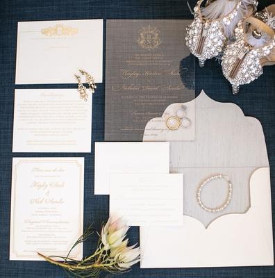 Wedding invitation on lucite acrylic gold monogram calligraphy white and gold stationery