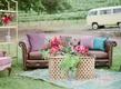 outdoor lounge space rug bookshelf furniture california boho chic wedding styled shoot vintage