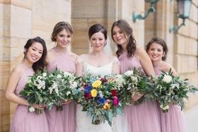 bride white bridesmaids pastel pink light dresses wedding dayton ohio colorful bouquet style
