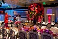 Unique damask chair covers around long reception table