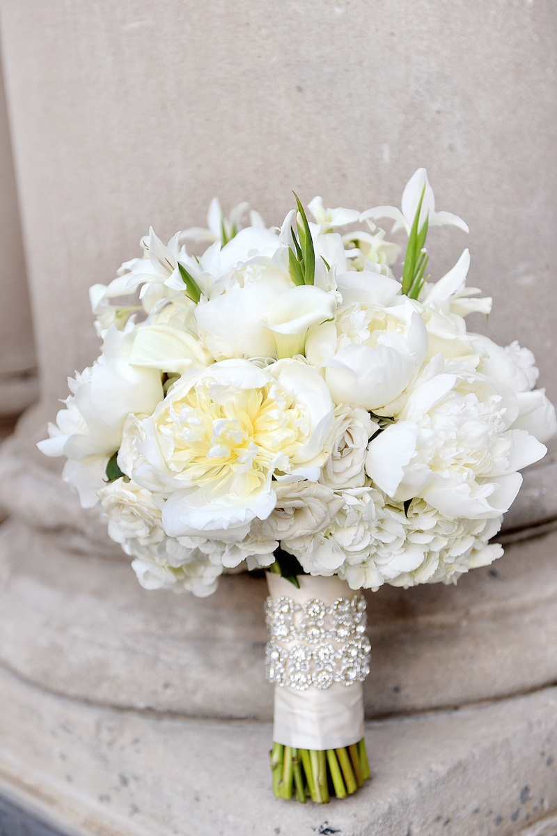 White silver gold wedding at the biltmore ballrooms in atlanta white rose white peony calla lily wedding bouquet mightylinksfo