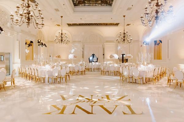 "r&b singer durrell ""tank"" babbs & zena foster wedding, white dance floor with gold letters"