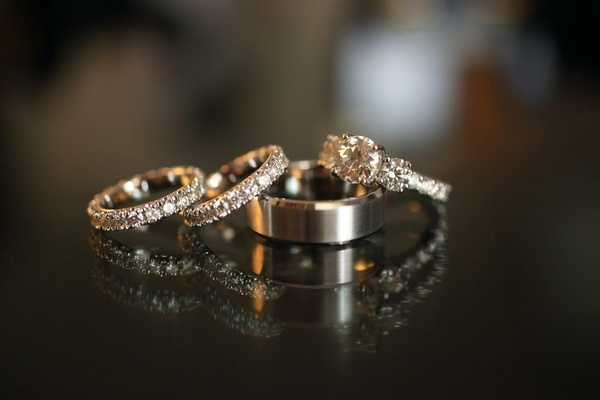 Sparkling eternity bands and three-stone ring