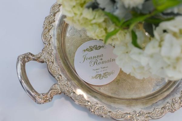 Joanna Krupa and Romain Zago coaster on silver tray