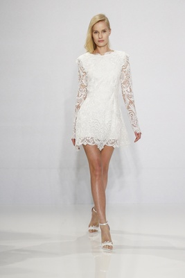 Christian Siriano for Kleinfeld Bridal short wedding dress with long sleeves in lace minidress
