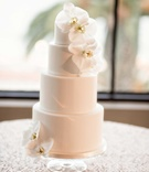 simple small white wedding cake orchids for levels sequin table cloth california wedding bel-air bay