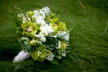 Bride's bouquet of green and white flowers