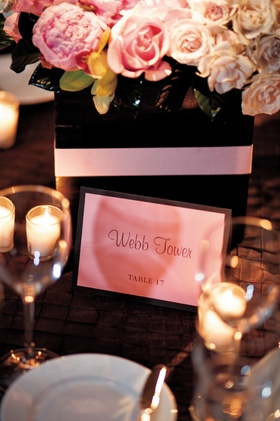 Candles and short vase centerpiece with table name