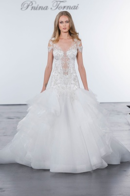 Pnina Tornai for Kleinfeld 2018 wedding dress drop waist dress horsehair and tulle skirt sheer