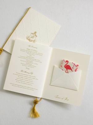 Wedding ceremony program book fold gold white ivory tears of joy flamingo print tissues gold tassel