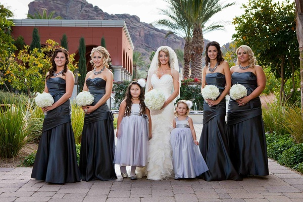 Metallic blue bridesmaid dresses and flower girls