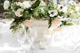 wedding tables named after cities the bride and groom visited