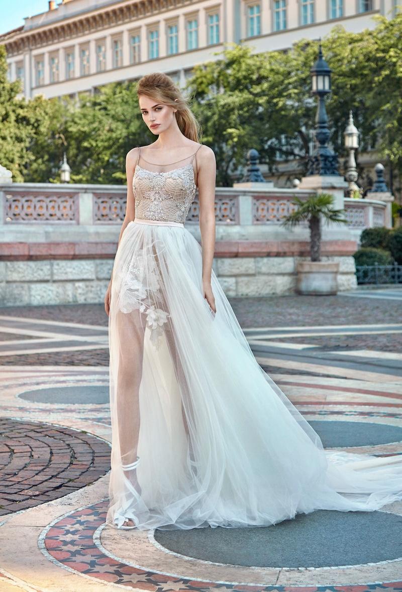 Gala By Galia Lahav 2016 Nude Mini Wedding Dress With Overskirt And Flower Applique