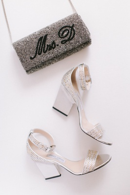 wedding shoes platform thick heel sandal metallic design ankle strap custom bag clutch glitter