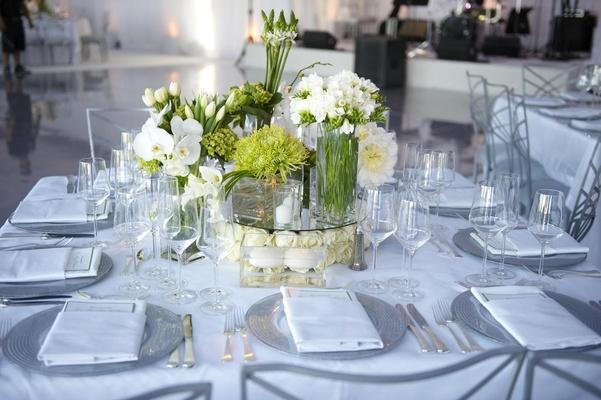 Classic wedding centerpiece with different flower arrangements