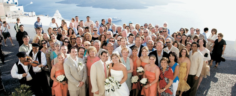 Wedding guests in Santorini, Greece