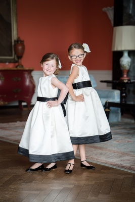 flower girls black white dresses trim cute sassy wedding southern black shoes