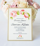Wedding shower invitations with blush flowers, green leaves, gold border