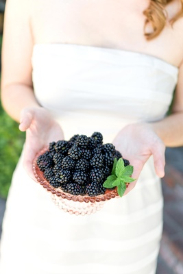 Bride-To-Be holds bowl of fruit
