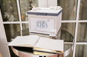 Wedding guestbook and monogrammed note box