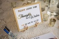 Wedding reception guest table guest book please leave thoughts and wishes guestbook table