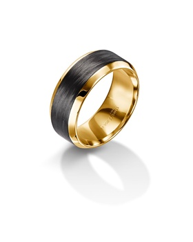 Furrer Jacot 71-29120 yellow gold and carbon fiber wedding band