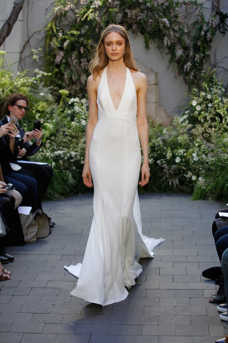 Wedding dresses photos marlowe by monique lhuillier inside monique lhuillier spring 2017 marlowe wedding dress v neck silk crepe halter gown junglespirit Gallery
