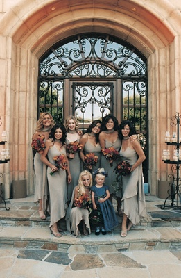 Bridesmaids in sand colored gowns