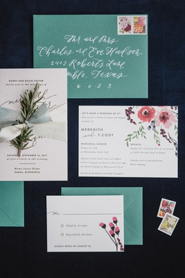 wedding invitation suite with vintage invite green envelope white calligraphy pink flower design