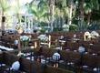 Wooden church pews and mahogany chairs at outdoor wedding