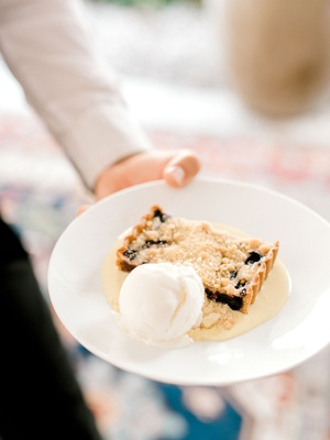 bridal shower menu dessert idea blueberry crumble tart with creme fraiche and ricotta ice cream