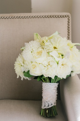 White wedding bouquet dahlia rose calla lily wrapped with lace