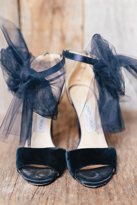 Velvet strap Jimmy Choo wedding heels with tulle black bow on ankle strap