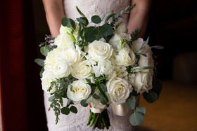 bridal bouquet with white roses and eucalyptus leaves