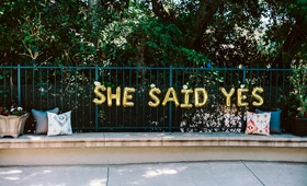 "engagement party inspiration, gold mylar balloon letters ""she said yes"""
