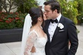 Bride in Galia Lahav dress with removable lace long sleeves veil groom in tuxedo and white flower