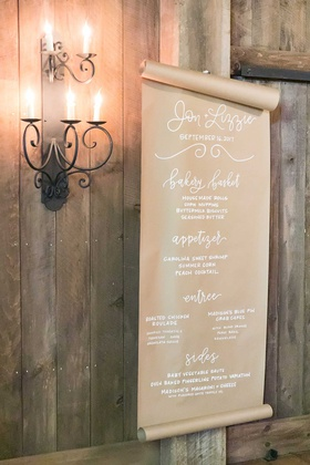 wedding reception menu on kraft paper modern calligraphy bakery basket appetizer entrees chicken