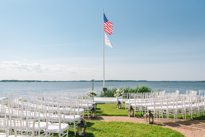 fenwick island wedding at beach house, ceremony on the water