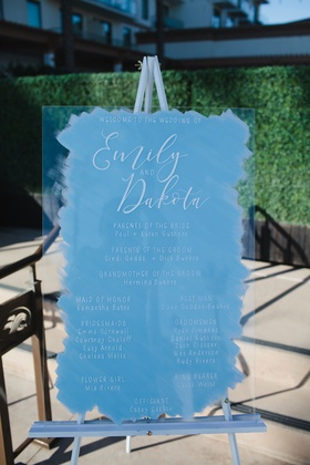 wedding ceremony sign white calligraphy acrylic lucite on easel blue brushstroke design