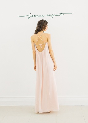 Joanna August 2016 low back bridesmaid dress in light pink with criss cross straps