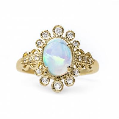 Claire Pettibone x Trumpet & Horn Celestine cabochon opal engagement ring
