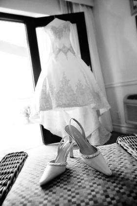 Black and white photo of slingback wedding heels