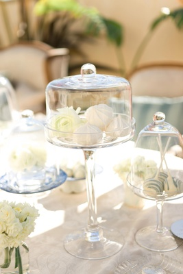 Cake pops and meringues in glass domes