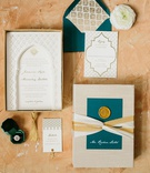 wedding invitation suite gold wax seal ribbon moroccan style destination wedding ideas