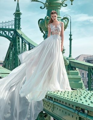 Gala By Galia Lahav 2016 Illusion Cap Sleeve Bodice And Long Skirt Wedding  Dress