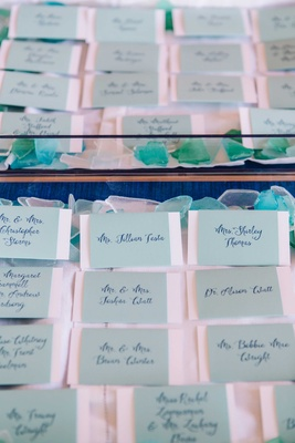 detriot lions quarterback matthew stafford rehearsal dinner escort cards tiffany blue calligraphy