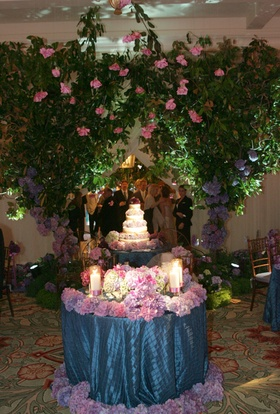 Blue sweetheart table covered with purple flowers